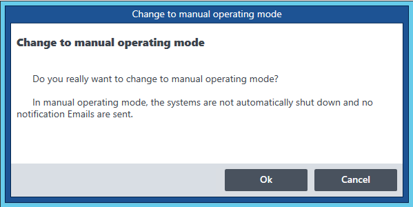 Dialog Switch to Manual Operating Mode